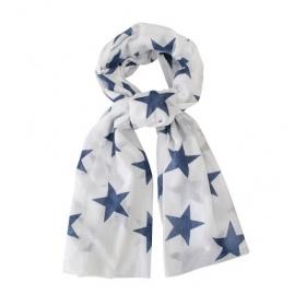 Sjaal Wit met Indigo Blauw Sterren | Uitverkocht