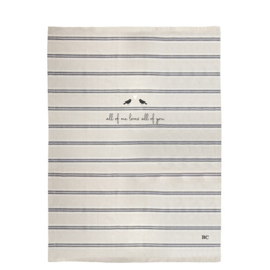 Theedoek | Stripes & Birds | Naturel/Zwart | Bastion Collections
