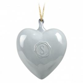 Aardewerk hart grijs 10 cm | Uitverkocht