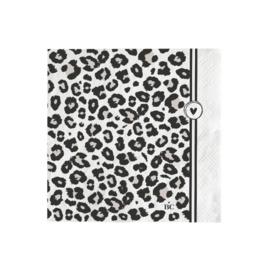 Servetten Leopard Heart | Small | 20 stuks | Wit/Zwart | Bastion Collections