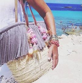 "Ibiza Standtas | Sunny Flower ""Blossom"" | Grijs | Hippies"