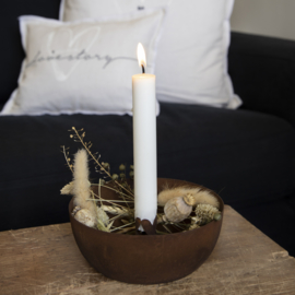 Candle Bowl Little Hearts | Antique Brown | Ø:15,5 cm | Bastion Collections
