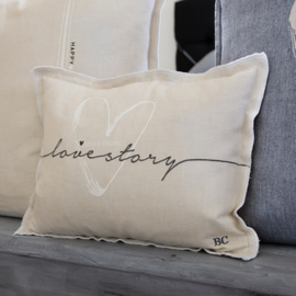 Kussen Love Story | 25 x 35 | Naturel | Incl. Vulling | Bastion Collections