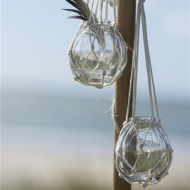 Glazen Bolvaasje | Small | Katoen  Macrame Hanger | Uitverkocht