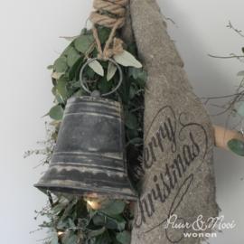 Kerstklok | Zink aan Touw | Medium 14 cm