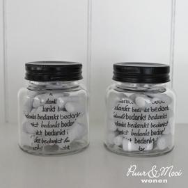 Glazen Potje Zwart Bedankt Hart/Ster met Snoepkrijtjes | Uitverkocht