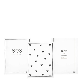 Theedoek | 3 Hearts | Wit/Zwart | Bastion Collections