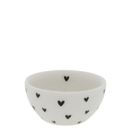 Bowl Mini | Hearts | Ø:6 x 3 cm | Wit/Zwart | Bastion Collections