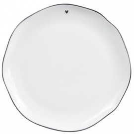 "Dinner Plate | Wit ""Little ♥"" Zwart 