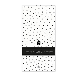 Servetten Hearts Love | X Large | 16 stuks | Wit/Zwart | Bastion Collections