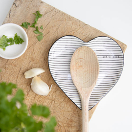 Spoon Holder | Stripes 'Lets Cook' | 13x13 cm | Wit/Zwart | Bastion Collections