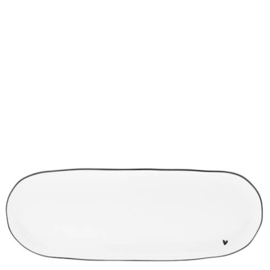 Oval Serving Plate | Little ♥ | Wit/Zwart | Bastion Collections | Tijdelijk Uitverkocht
