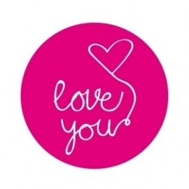 "Stickers ""Love You"" Roze/Wit Set 10"