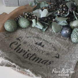 Kerst Shabby Doek | Very Merry Christmas | 30 x 45