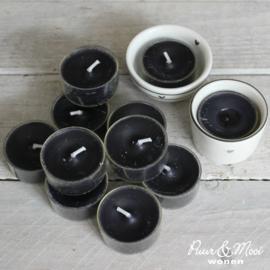 Waxinelichtjes met Transparante Cup | 10 Stuks | Zwart