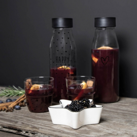 Fles met Schenkdop | Happy Water ♥ | Zwart | 1 Liter | Bastion Collections