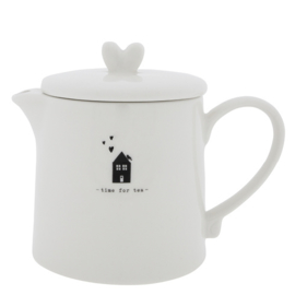 Theepot | Time for Tea | 1 Liter | Wit/Zwart | Bastion Collections