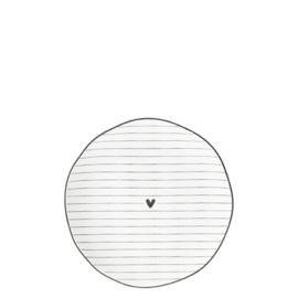 Side Plate Tapas Bordje    Heart & Stripes   13 cm   Wit/Zwart   Bastion Collections
