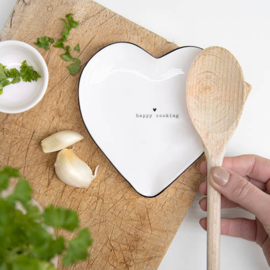 Spoon Holder | Happy Cooking | 13x13 cm | Wit/Zwart | Bastion Collections