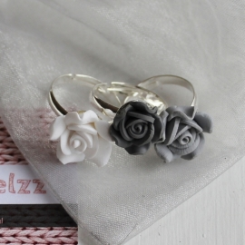 AM Jewelzz Ring Roosje Dark Grey / Licht grey / White