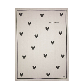 Theedoek | Hearts | Naturel/Zwart | Bastion Collections