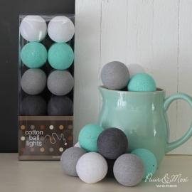 Cotton Ball Lights | Mint/Grijs | 20 | Uitverkocht