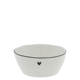 Saus Bowl | Heart | Medium Ø: 9,5 cm | Wit/Zwart | Bastion Collections