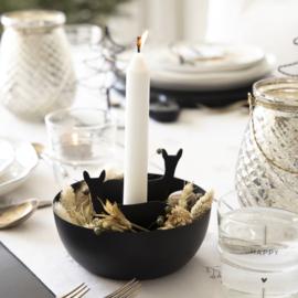 Candle Bowl Deer | Black | Ø:15,5 cm | Bastion Collections