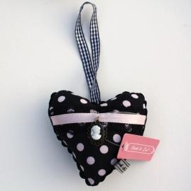 Liek & Zo Roze/Zwart gestipt Hart 12 cm