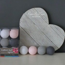Cotton Ball Lights | Pastel Roze/Grijs | 10 Ball