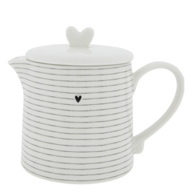 Theepot | Stripes | 1 Liter | Wit/Zwart | Bastion Collections