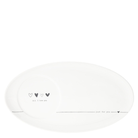 Oval Plate | p.s. I love you | Wit/Zwart | Bastion Collections