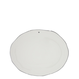 Servingplate | 37x30 cm | Wit/Zwart | Bastion Collections