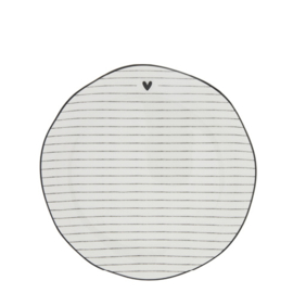 Dessert Plate | Stripes | Ø:19 cm | Wit/Zwart | Bastion Collections