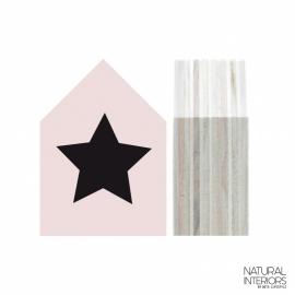 Huisje Hout S | Pastel Roze | Ster Zwart