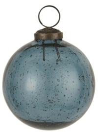 Kerstbal Glas Metal Chips | Petrol | Medium | IB Laursen