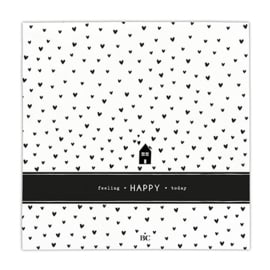 Servetten Hearts Happy | 20 stuks | Wit/Zwart | Bastion Collections