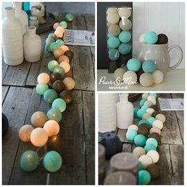 Cotton Ball Lights  | Chocolade/Mint | 20