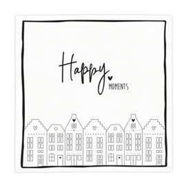 Servetten 'Happy Moments' | 20 stuks | Wit/Zwart | Bastion Collections