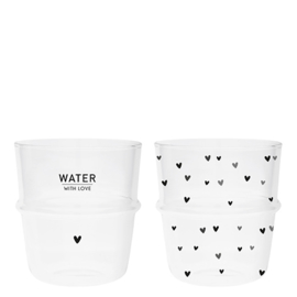Water Glaasjes Zwart | Set 2 | Water Love & Hearts | Bastion Collections