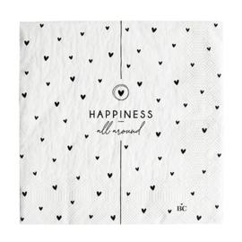 Servetten Hearts 'Happiness' | 20 pcs 16,5 x 16,5 cm | Wit/Zwart | Bastion Collections