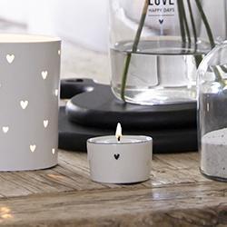 Candleholder | Hartje ♥ Zwart | Wit/Zwart | Bastion Collections