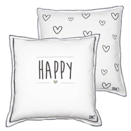 Kussen Happy & Hearts | White/Dark Grey | 50x50 | Bastion Collections
