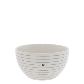 Kom | Stripes with Heart | Ø:13 cm | Wit/Zwart | Bastion Collections