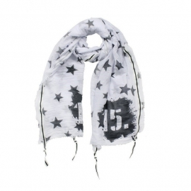 Shawl White Black Stars