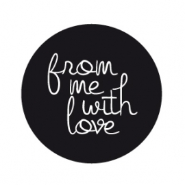 """Stickers Zwart Mat  """" From Me With Love"""" Set 10"""