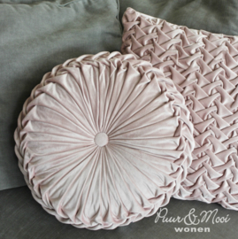 Kussen Rond Velvet Pink | 40 cm |  Uitverkocht