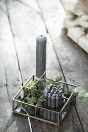 Korte Smalle Kaarsjes Dark Grey | Set 10 | Ø:1,3 cm