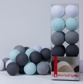 Cotton Ball Lights | Licht Aqua/Grijs | 20