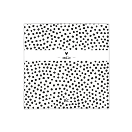 Servetten Dots Smile | Small | 20 stuks | Wit/Zwart | Bastion Collections